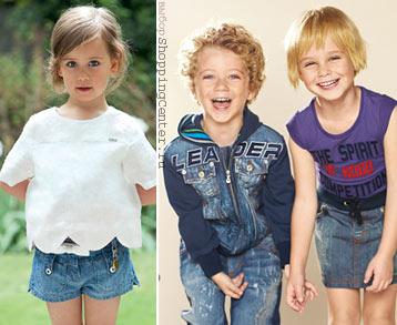 Детская мода.  Модная одежда для девочек и мальчиков: джинсовый стиль.