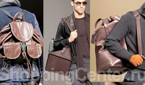 Модные мужские сумки, фото: кожаный рюкзак Bottega Venetta, вещмешок с...