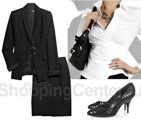 Деловой стиль для женщин: черный деловой костюм Just Cavalli, рубашка...