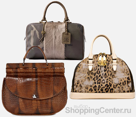 На фото женские модные сумки 2011: коричневая сумка Versace, серая с...