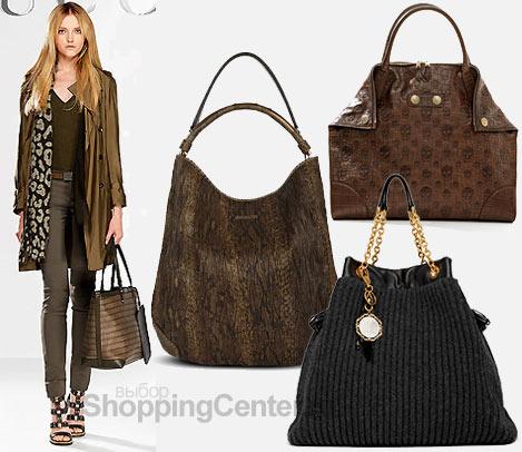 На фото модные женские сумки 2010: модель с сумкой Gucci, сумка Burberry...