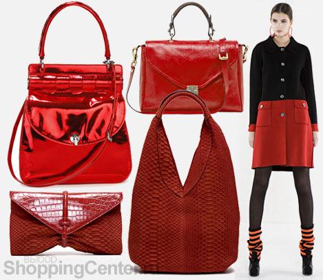 Красные и рыжие сумки Самые актуальные цвета сумок, помимо черного и...