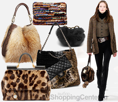 Женские сумки На фото модные женские сумки 2010: кожаная сумка с мехом...