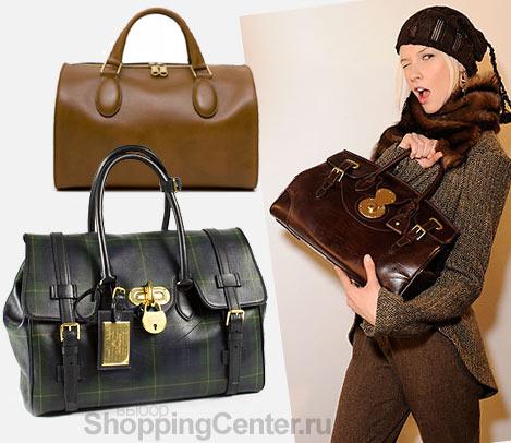 На фото модные женские сумки 2012: коричневая сумка Chloe, клетчатая...