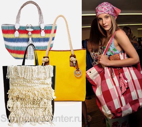 На фото пляжные модные сумки 2012: полосатая модная сумка Anya Hindmarch...